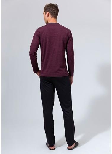 Dagi Kırçıllı V Yaka Uzun Kollu Pijama Takımı Kırmızı